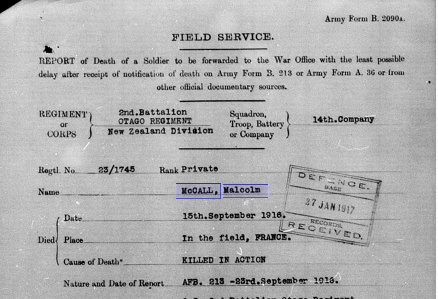 November 2015 measuring the anzacs heres the form we recognize it as a death notification because the text at the top says report of death of a soldier 1betcityfo Image collections